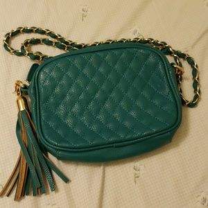 Teal and gold crossbody